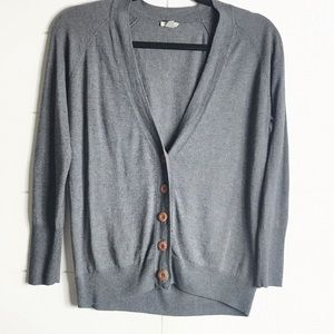 Fossil Silk Blend Gray Button Front Cardigan